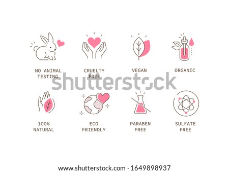 Vegan Organic Cosmetic Icons Collection. Not Tested on Animals, Cruelty Free Badges. Eco and Nature Friendly Logo Templates. Flat Line Cartoon Illustration.