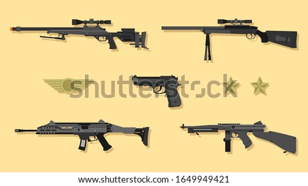 Collection of land combat game weapons, airsoft hand gun vector.