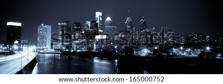 Panoramic view of Philadelphia Skyline  by night