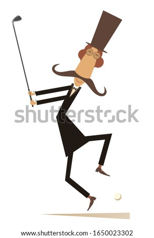 Mustache man in the top hat playing golf illustration. Mustache gentleman in the top hat holds a golf club and trying to do a good kick isolated on white