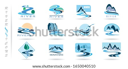 Commercial icons of rivers and mountains Royalty-Free Stock Photo #1650040510