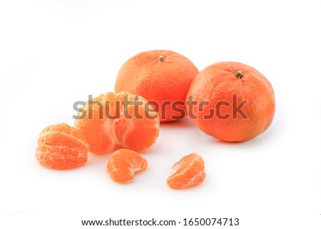 Peeled mandarin and peeled mandarin peeled off on a white background #1650074713
