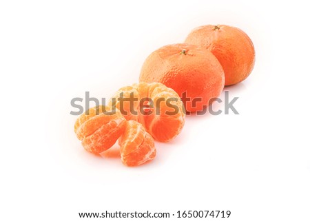 Peeled mandarin and peeled mandarin peeled off on a white background #1650074719