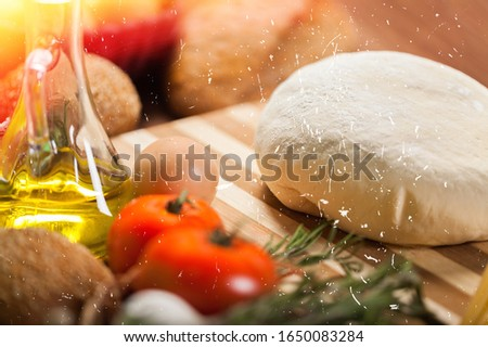 Delicious fresh pizza ingredients on desk #1650083284