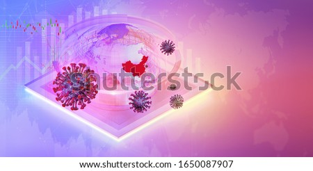 Isometric china economy background with coronavirus covid-19, charts of financial instruments, daily stock exchange market price data, world globe map. Chinese ncov corona virus pandemic 3D concept
