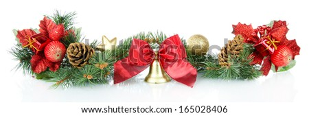 Composition of the Christmas decorations isolated on white #165028406