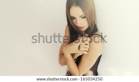 Beautiful sensual cute girl portrait at home #165034250
