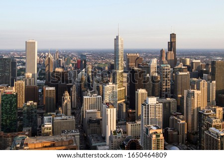 Beautiful aerial view of Chicago skyline at daytime, Illinois, USA