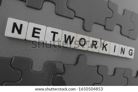Networking, word cube with background. #1650504853