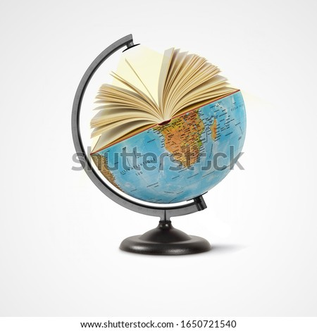 world book day,23th April, open book over the Planet on isolated white background, Mental Health Day concept, books pile and globe,World literature concept, Knowledge information, earth day concept, Royalty-Free Stock Photo #1650721540