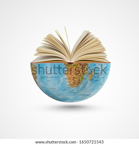 world book day,23th April, open book over the Planet on isolated white background, Mental Health Day concept, books pile and globe,World literature concept, Knowledge information, earth day concept, Royalty-Free Stock Photo #1650721543