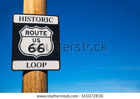 Route 66 road loop sign in Arizona historic road USA #165072830