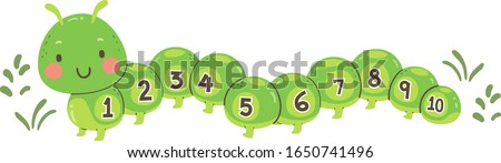 Illustration of a Cute Caterpillar Mascot with Numbers One to Ten