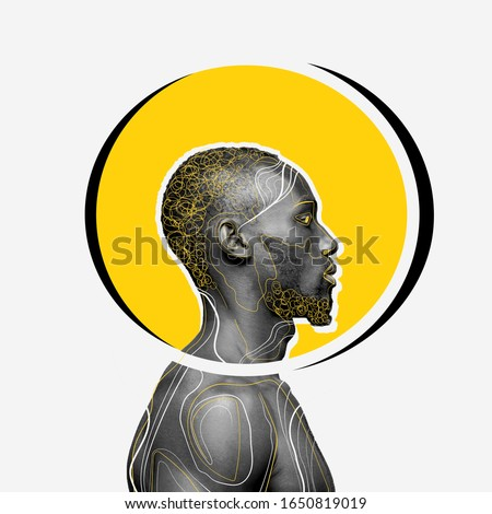 African-american man with head rounded yellow on white background. Copyspace for your proposal. Modern design. Contemporary artwork, collage. Concept of phycology, thinking, brainstorming, fashion. Royalty-Free Stock Photo #1650819019
