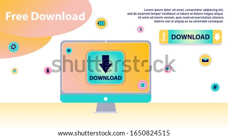 Concept Of Free Download, Anti Piracy. Meaning Of Stream Or Upload. Stylized Concept for Torrent Data From Servers, Online Media Shopping, File Transfer and Sharing. Cartoon Flat Vector Illustration