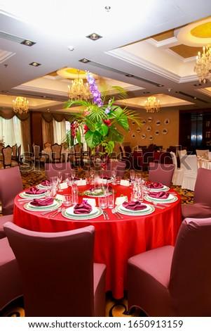 The table in the restaurant is set for dinner. Romantic dinner. love dinner. #1650913159