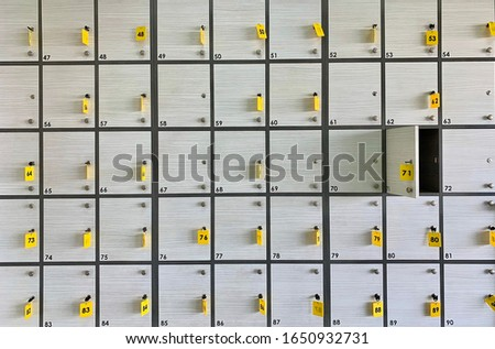 Background texture: light lockers in the locker room. Lockers in a public locker room or at a clothing store. Luggage storage in the supermarket. #1650932731