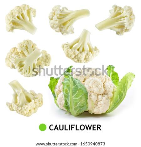 Cauliflower isolated. Cauliflower: whole, slice, piece. Cauliflower on white. Vegetable set. #1650940873