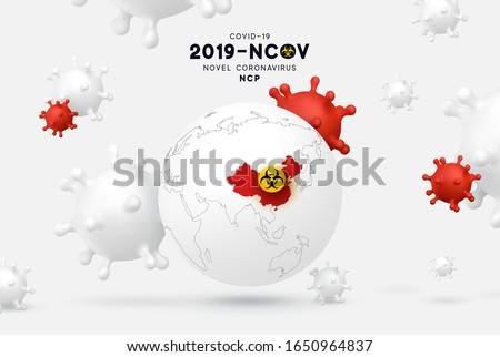 Novel Coronavirus (2019-nCoV). China pathogen respiratory coronavirus covid19 originating in Wuhan, Asia-China map infographics. Virus Covid 19-NCP.  #1650964837