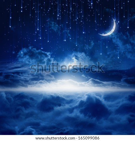Peaceful background, blue night sky with moon, falling stars, beautiful clouds, glowing horizon. Elements of this image furnished by NASA