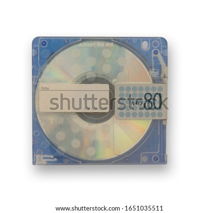 Isolate used blue mini disc MD.  scratches on the skin. Put on white background for data and music recording, Concept music players, capacity music discs, Concept re writable data, clipping parts