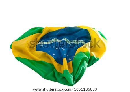 Brazilian flag, open on white background.Horizontal.Space for text. #1651186033