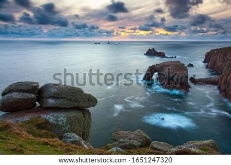 The rock formations known as Enys Dodnan and the Armed Knight Lands End Cornwall England UK Europe #1651247320