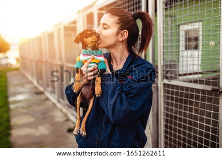 Young woman in dog shelter adopting a dog. Royalty-Free Stock Photo #1651262611