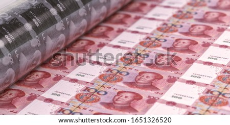 China 100 Yuan banknotes printing with money press. China economy corona virus impact, banking, finance, stock market affected by coronavirus covid-19, China Yuan sheet business design background   #1651326520