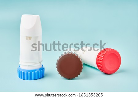 DPI Dry powder inhaler aerosol. Medical treatmemt for asthmatic. nebulizer turbuhaler. Asthma and Allergy medicines for people with respiratory problems.  Copyspace. Space for text.