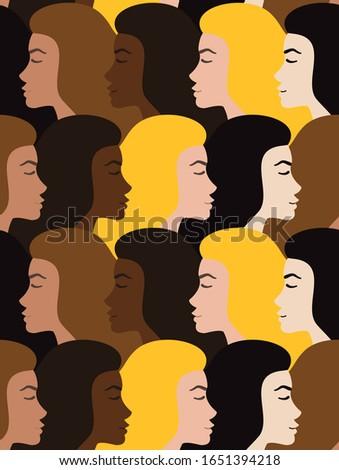 Vector seamless pattern of different flat cartoon woman head profile #1651394218