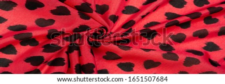 Texture, background, pattern, postcard, silk fabric, red fabric print from black hearts, your projects will not go unnoticed, this fabric will help you with this #1651507684