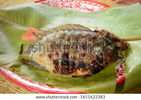 this pic show grilled tilapia fish on dish