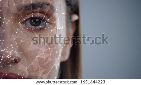 Face ID. Future. Half Face of Young Caucasian Woman for Face Detection. Brown Female Eye Biometrical Iris Scan Reading for Person Identification. Augmented Reality. 3D Technology Concept. #1651644223