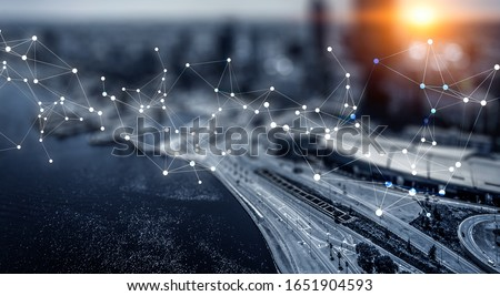 Business district and wireless technologies Royalty-Free Stock Photo #1651904593