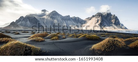 Sunny landscape of Iceland. Gorgeous view on Stokksnes cape and Vestrahorn Mountain with black sand with grass on foreground at summer. Iconic location for landscape photographers. Wonderful nature. #1651993408
