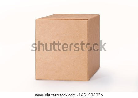 Close up of a Brown box on white background with clipping path #1651996036