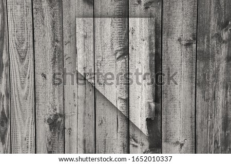 Detailed and colorful image of map of Nevada on weathered wood #1652010337