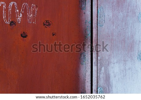 Metal Rust Background Metal Rust Texture. Beautiful unusual background. Rusted painted metal wall. Rusty old background with streaks of rust. Rust stains. #1652035762