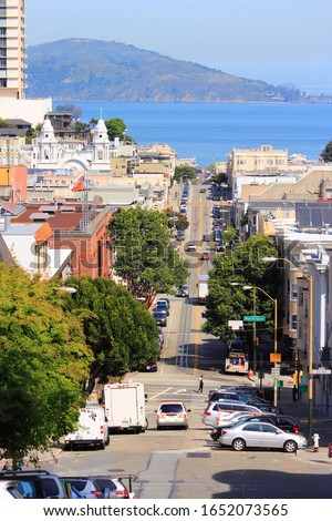 San Francisco, California - city street view with Nob Hill and Russian Hill. #1652073565