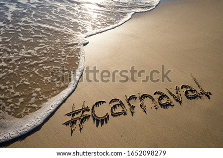 Modern message for Carnaval (portuguese for carnival) with a social media-friendly hashtag written on smooth sand beach