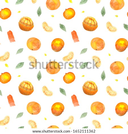 Seamless pattern with watercolor tangerines #1652111362