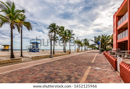 Boardwalk and bikeway along the beach in Hollywood. A popular tourist attraction in Broward County, Florida, USA. #1652125966