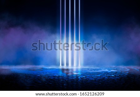 Dark empty scene. Wet surface, reflection of neon lights in the water. Abstract futuristic background.