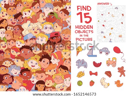 Ethnic diversity of children's faces. International Children's Day. Find 15 hidden objects in the picture. Puzzle Hidden Items. Funny cartoon character. Vector illustration Royalty-Free Stock Photo #1652146573