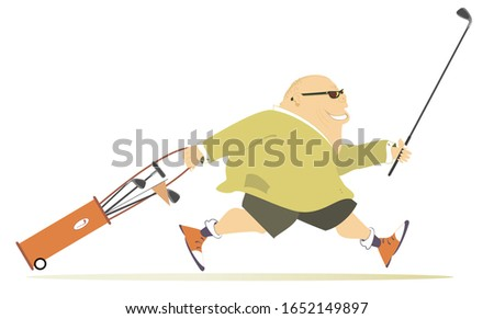Smiling golfer man runs to play golf illustration. Cartoon smiling fat bald-headed man in sunglasses with golf bag and golf club runs to the golf course isolated on white