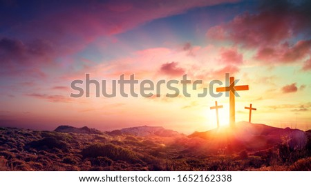 Crucifixion Of Jesus Christ  - Three Crosses On Hill At Sunset