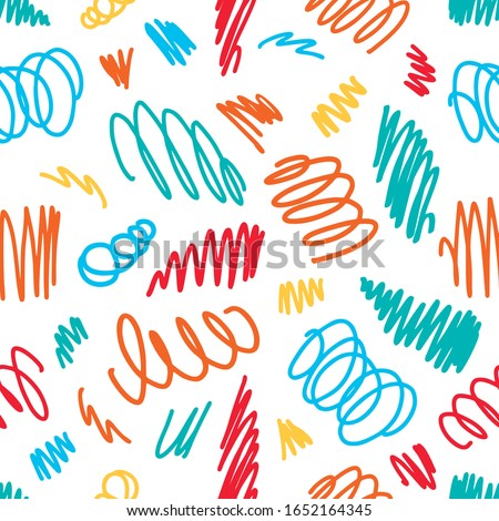 Seamless vector colorfull pattern hand drawn scrawl sketch. Freehand vector scribble line drawing. Color seamless texture vector abstract scribbles, chaos doodles. Vector seamless pattern scribble. #1652164345