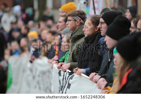 Hamburg, Germany, 02 21 2020 - Fridays for Future, Students Demonstration in Hamburg. Students went on the street to strike and demand politicians to act to prevent further global warming. #1652248306