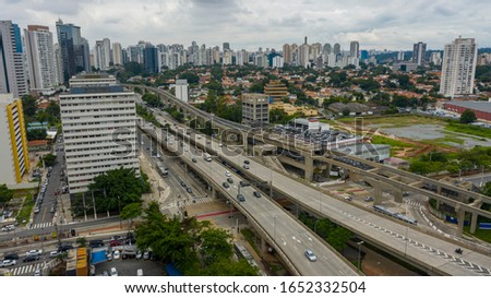 "Construction of the monorail system, monorail line ""17 gold"", Journalist Roberto Marinho Avenue, Sao Paulo, Brazil, South America America.  #1652332504"